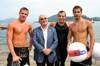 i primi tre arrivati alla gran nuotata del lago maggiore con il sindato Antonio Catapano
