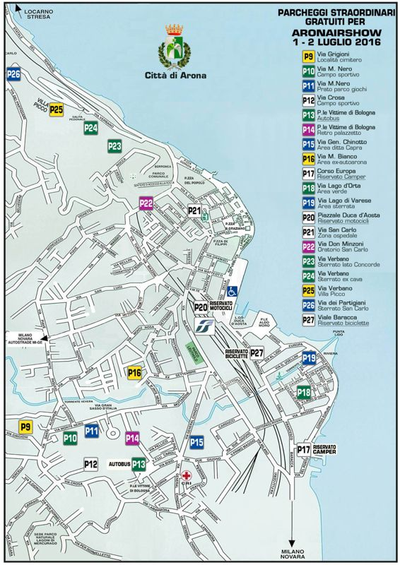 Parcheggi straordinari gratuiti per ARONAIRSHOW 2016
