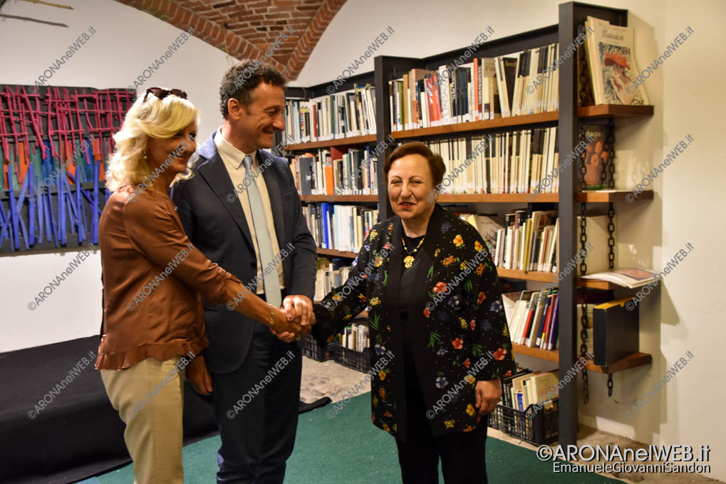EGS2018_33567 | Shirin Ebadi con il sindaco di Arona Alberto Gusmeroli e l'assessore Marina Grassani