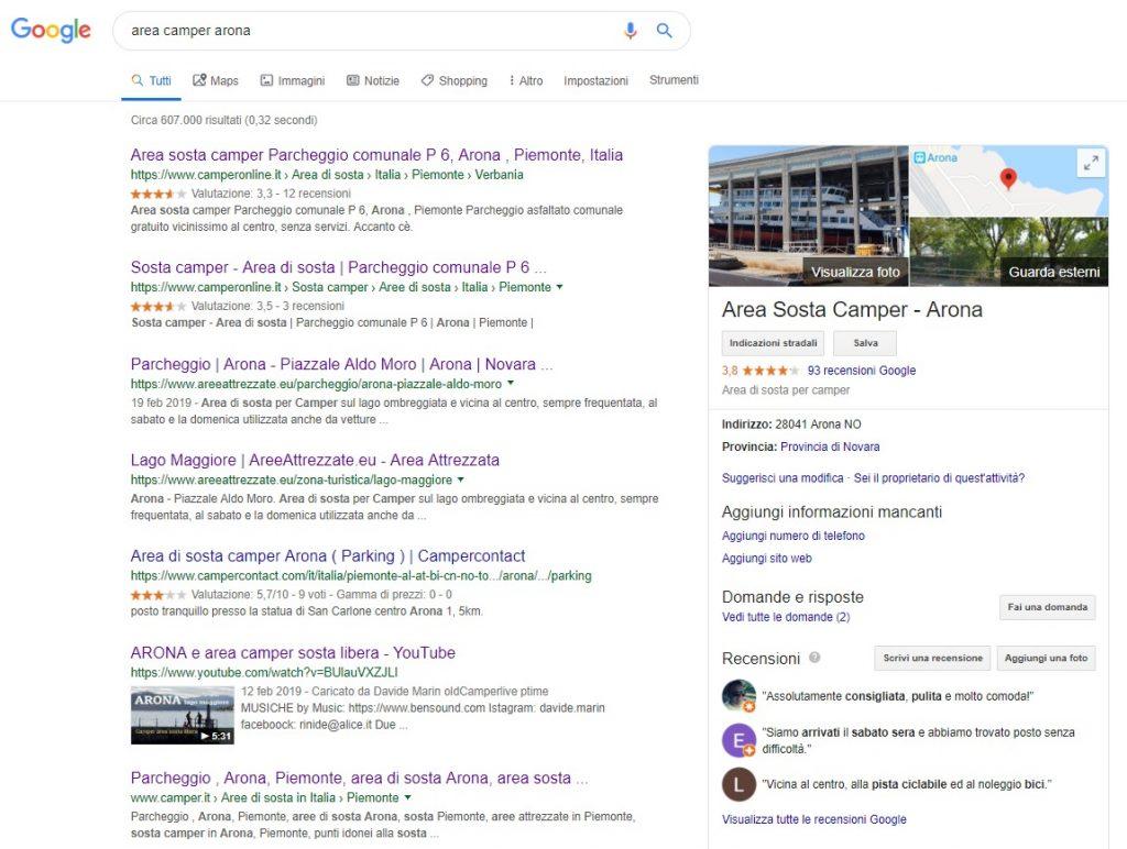"Ricerca Google ""Area Camper Arona"""