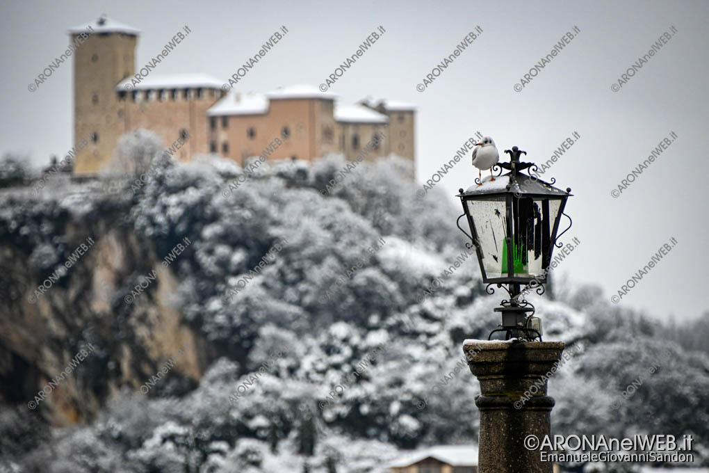 EGS2020_19092   Il faro e il gabbiano sotto la neve, sullo sfondo il Castello d'Angera